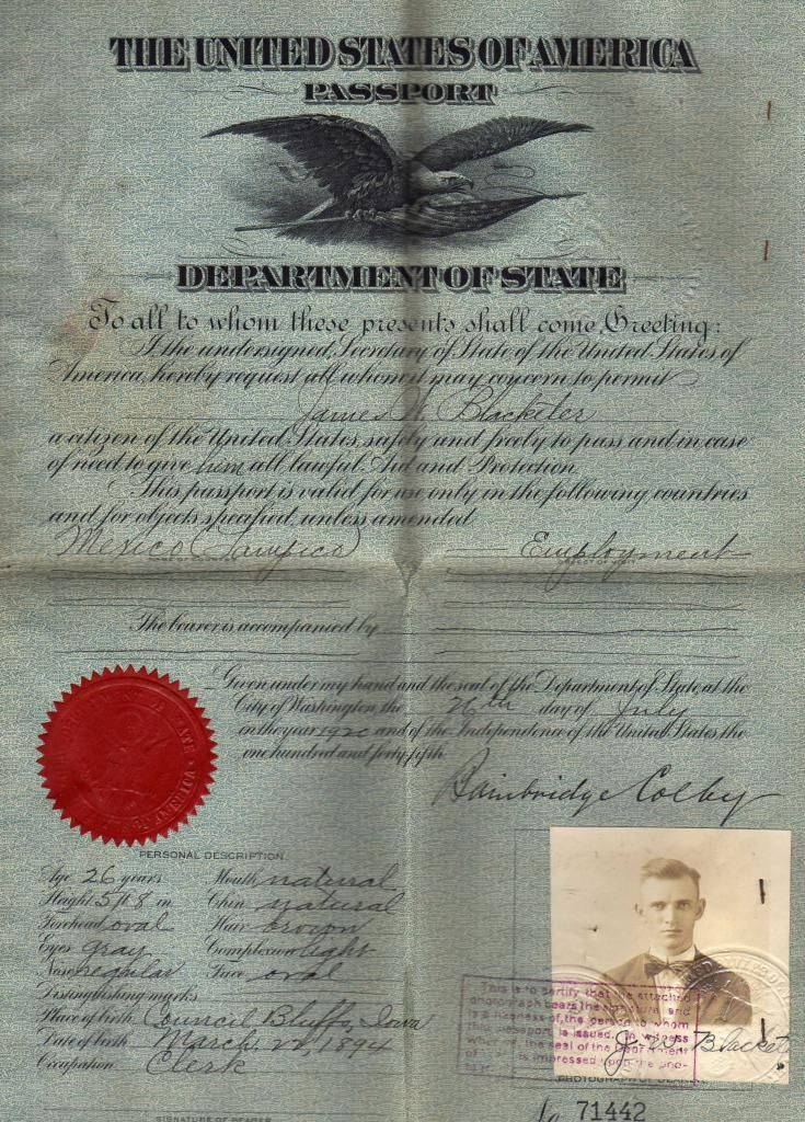 James Wesley Blacketer's Passport