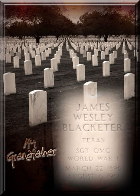 James Wesley Blacketer's Tombstone via Family Stories